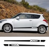 2Pcs For Suzuki Swift SX4 Jimny Ignis Alto Samurai Baleno Grand Vitara Car Side Stripe Sticker Vinyl Film Car Tuning Accessories