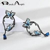 black angel blue enamel two flying butterfly stud earrings for women 925 silver sapphire earrings wedding jewelry dropshipping