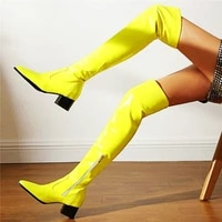 sexy thigh high boots womens patent leather pointed toe over the knee boots low heel riding party shoes 33 34 43