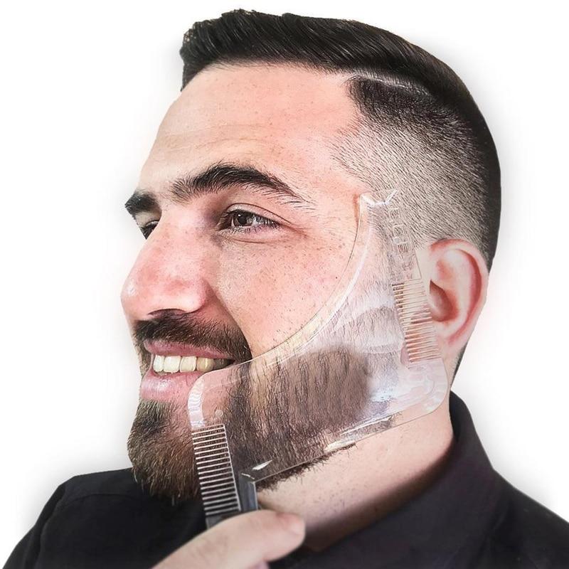 1PCS Hot Sell Men Beard Shaping Styling Template Trim Transparent Comb Shaving Tool
