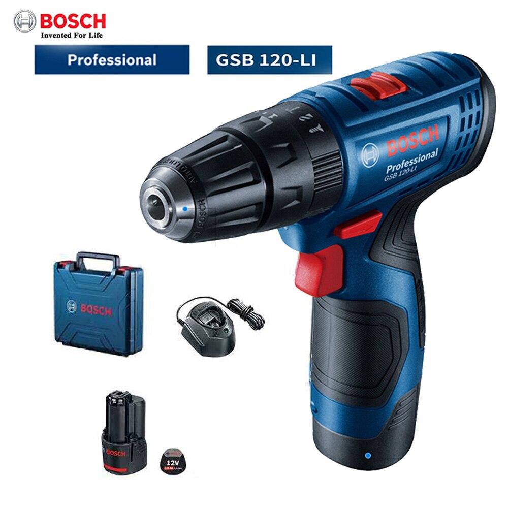 Bosch GSB120-LI аккумуляторная ударная дрель профессиональный электрический литиевая электродрель Скорость Регулируемая бытовой Мощность инструмент
