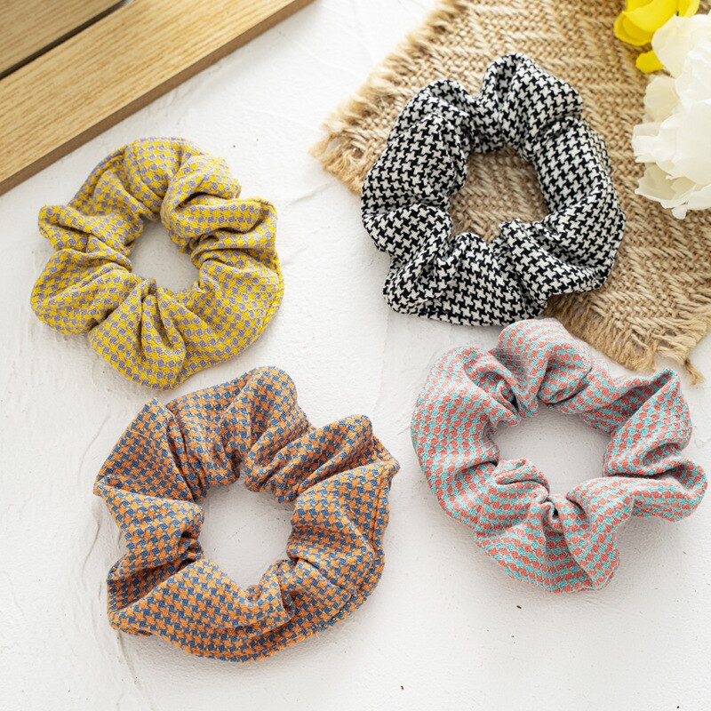 New Scrunchie For Women Hairstyle Vintage Retro Sweet Plaids Femme Hair Ties Nylon Fabric Elastic Hair Rope Chouchou