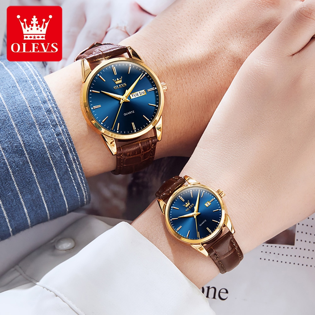 Luxury Lover Watches Fashion Leather Quartz Wrist Watch For Man And Woman Couple Watch Lover's Wrist