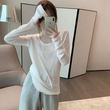 White T-shirt Short 2021 Spring New Long Sleeve Bottoming Shirt Women's Korean Style Loose Western S