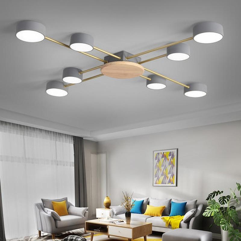 خشبية Led ضوء السقف نظام تعليق في السقف مصباح AIBIOU نمط مصمم بريق معدني لغرفة المعيشة أضواء المطبخ تركيبات
