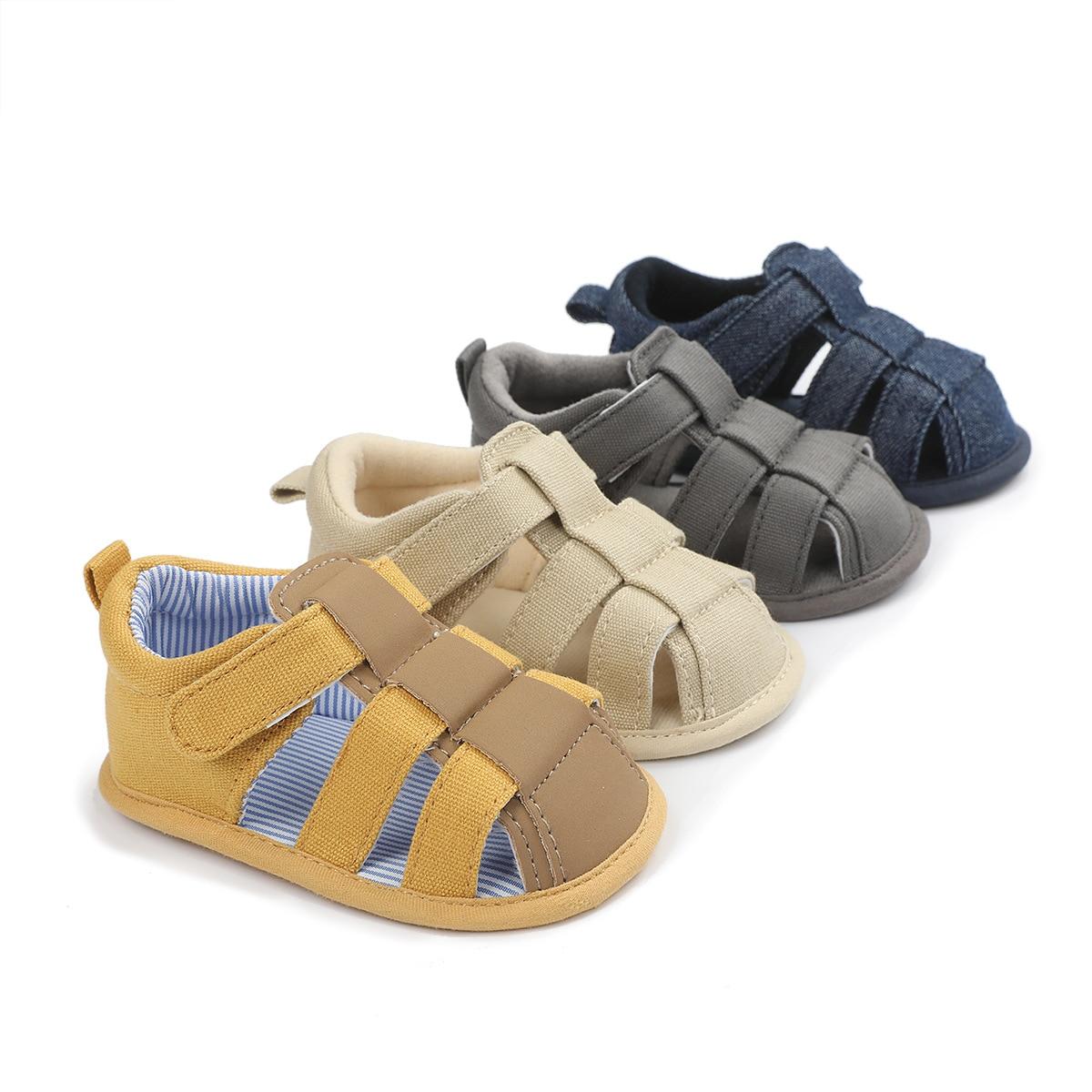 Fashion Products Summer Sandals Newborn Infant Baby Boy Shoes Canvas Sandals Soft Bottom Non-Slip Ba