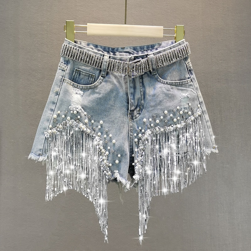 Female Denim Shorts 2021 Summer Wear New High Waist Slimming Heavy Beaded Sequin Fringed Ripped Wide Leg Pants Jeans Hot Pants
