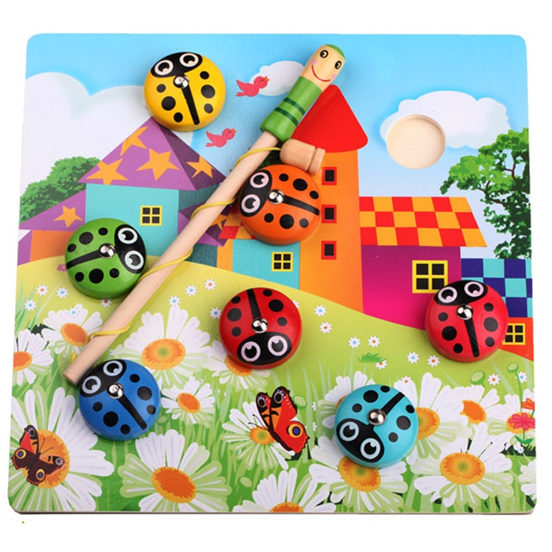 Wooden Fishing Toys Magnetic Catch Ladybug Game Children Catches Insect Games Set Kids Montessori Educational Fish Toys Gifts недорого