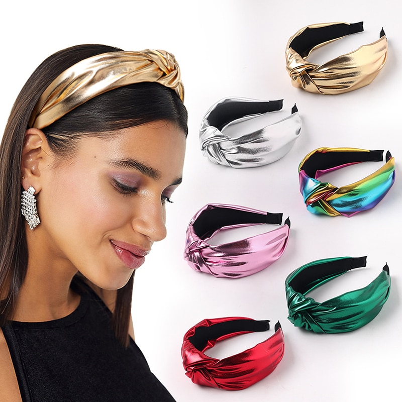 1PC New Arrival Black & White PU Headband Front Knot Solid Color Stylish for Women Fashion Hair Accessories