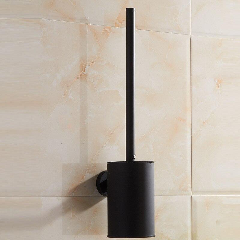 Vidric 304 de acero inoxidable para baño, soporte de cepillo de baño negro, juego de cepillo de baño montado en la pared, pintura de goma de Hotel creativa