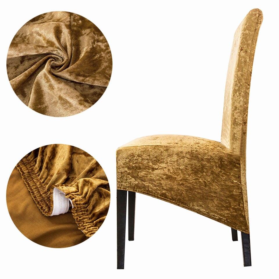 Cubierta elástica para sillas de licra, Tamaño XL, terciopelo brillante 2020, fundas elásticas para asientos, fundas para sillas de comedor con respaldo