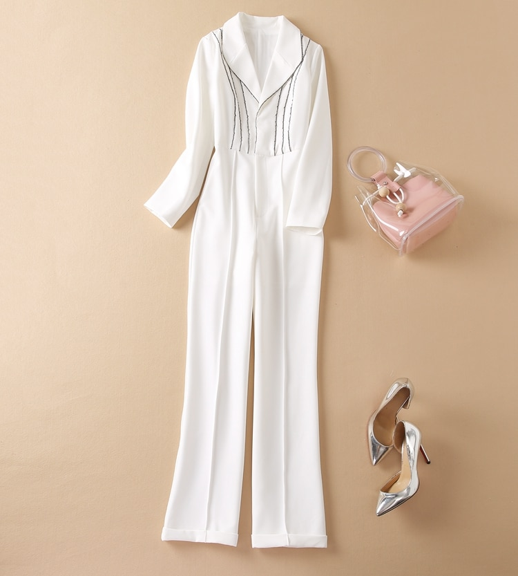 High Quality New Jumpsuit 2021 Autumn Fashoin Style Women Notched Collar Beading Deco Long Sleeve Elegant Long White Jumpsuit