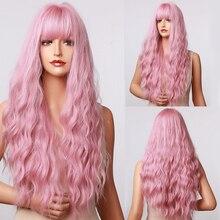 Parrucche lunghe HENRY MARGU Water Wave Cosplay Halloween parrucche sintetiche rosa con frangia per donne ragazze fibra ad alta temperatura