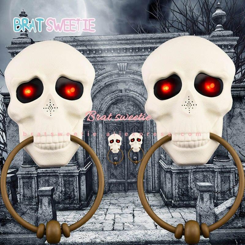Timbre de calavera de Halloween con sonido escalofriante y decoraciones de Halloween para el hogar al aire libre