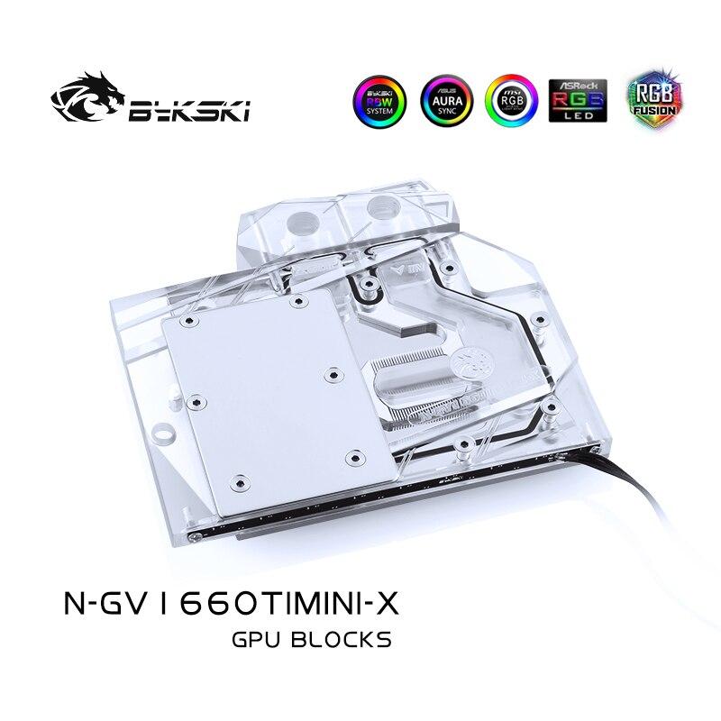 Bykski Water Block use for GIGABYTE AORUS RTX1660TI MINI ITX OC 6G / (GV-N2060OC-6GD Rev2.0) Full Cover Copper Block / RGB AURA