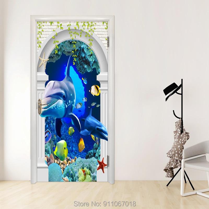 FEIDIE-pegatinas Para puerta de paisaje, Vinilos removibles 3D Para Puertas, papel tapiz...
