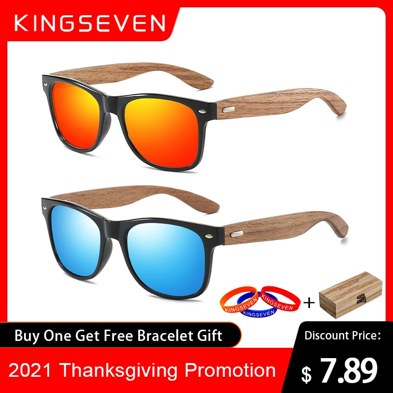 KINGSEVEN Brand 2021 Fashion 100%Handmade Natural Wooden Men Sunglasses Polarized Sun Glasses Women UV400 Mirror Eyewear