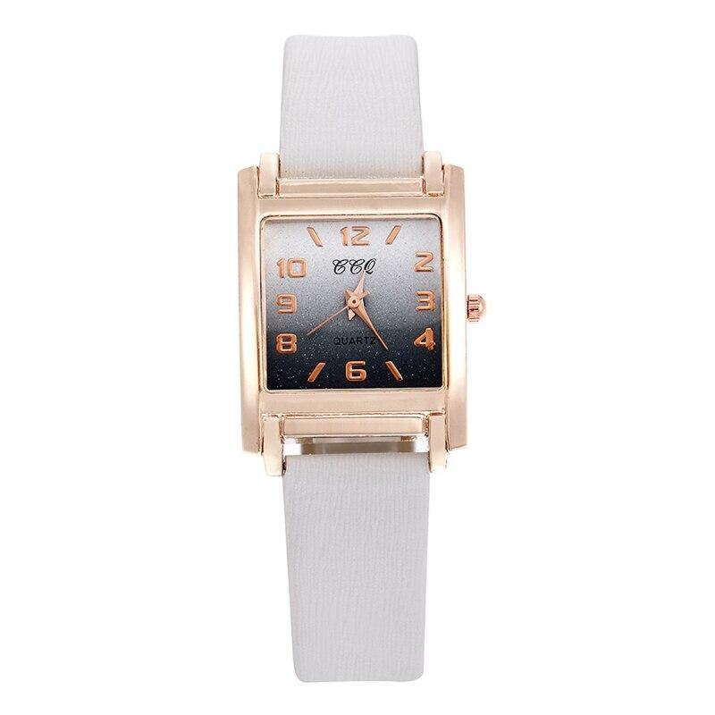 رائعة المرأة حزام جلد ساعة مستطيل الأرقام التدرج ساعات بعقارب السيدات كوارتز فستان سوار ساعة اليد