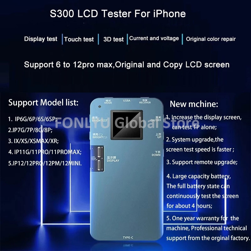 Get DL iTestBox S300 LCD Screen Tester For iPhone 12 11Pro MAX XS Programmer Ambient Light Sensor Original Color True Tone 3D Touch