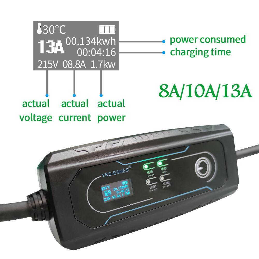 YKS-ESNES  Portable EV Charger IEC62196 16A  UK 3 Pins Plug  10M  Type2 enlarge