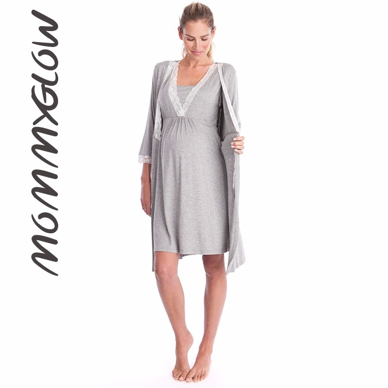 Maternity Robe For Hospital Nightgown Pregnant Women Nursing Nightwear Pajama Lace Sleepwear Ropa Mujer Embarazada Premama Suits