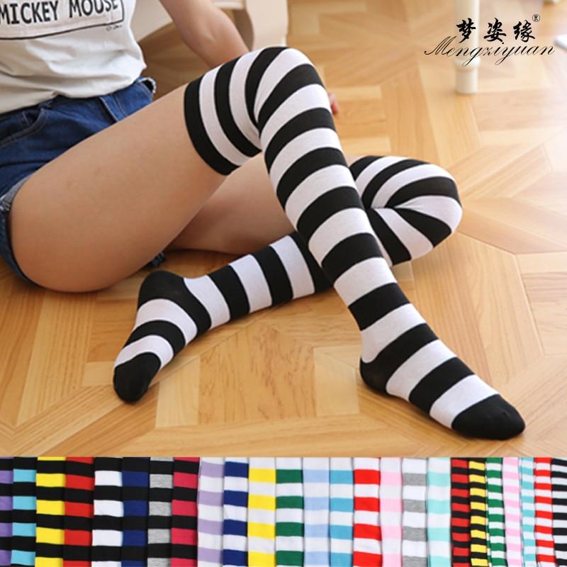 Womens socks thighs higher than knee socks long stripe printed high stripe socks on the knee cute fashion kawaii ladies socks