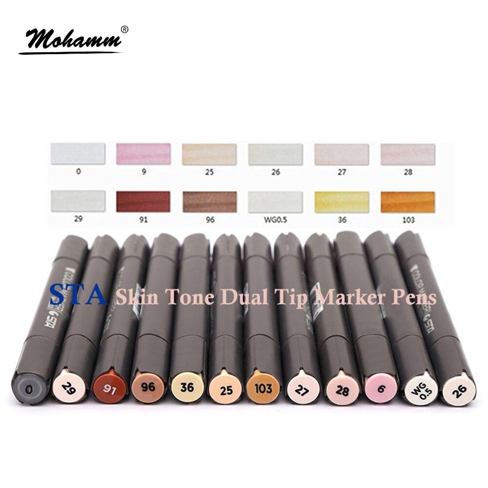 12 шт., цветные маркеры STA с двумя наконечниками, спиртовые маркеры, профессиональные авторучки для рисования лица, портретные комиксы