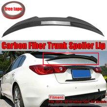 PSM Stil Real Carbon Fiber Entenschnabel Auto Hinten Heckspoiler Flügel Lip Big Für Infiniti Q50 PSM Stil 2014- 2019 Flügel Spoiler