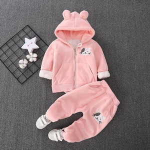 Girls warm clothing sets autumn winter children casual cute thick velvet coat pants 2pcs tracksuits for baby boys toddler sports