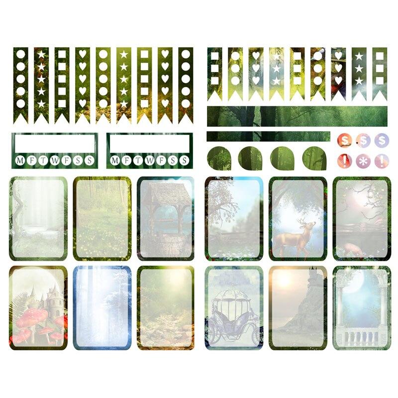 1 Uds. Verde bosque verano precortado álbum de recortes Bullet diario papelería pegatinas planificador semanal mensual pestañas suministros de arte