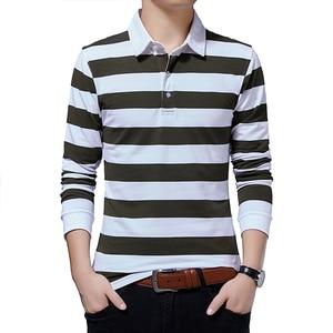 Autumn Hot Sale Thick New Men's T Shirt Striped Patterm Turn-down Collar Cotton Long Sleeve T-shirt Big Size Tee Tops Cheap