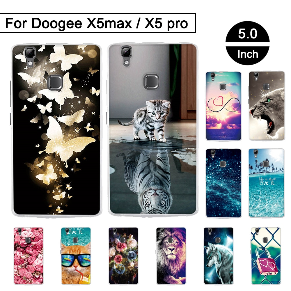 Para Doogee X5 max funda TPU de protección trasera para Doogee X5 Max Pro patrón pintado fundas de silicona