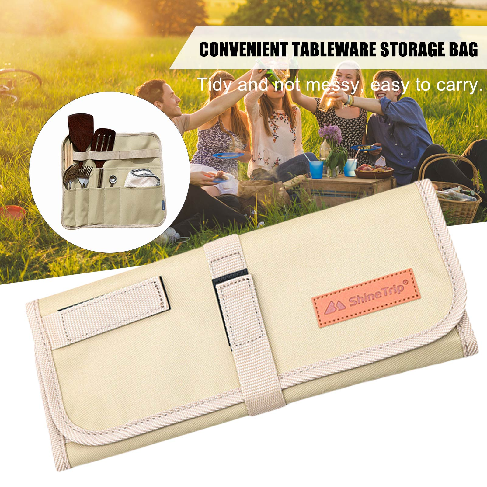 Drawstring Bag Portable Drawer Liner Tableware Storage Bag For Outdoor Camping Storage Cutlery Case For Dinnerware