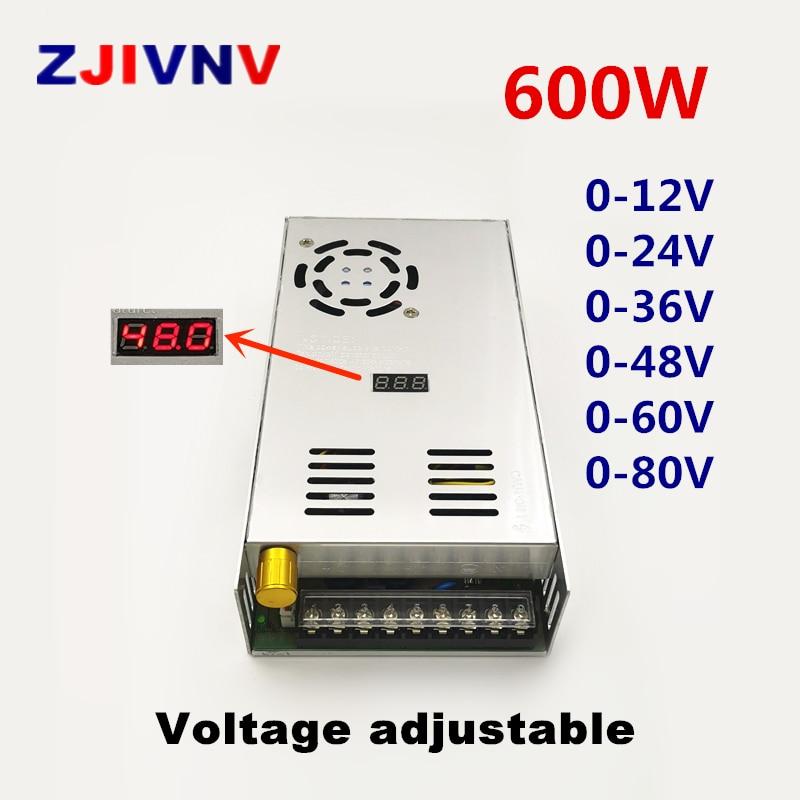 600 واط تحويل التيار الكهربائي قابل للتعديل الناتج الجهد 0-12 فولت 24 فولت 36 فولت 48 فولت 50 فولت 60 فولت 80 فولت شاشة ديجيتال التيار المتناوب إلى تيار...