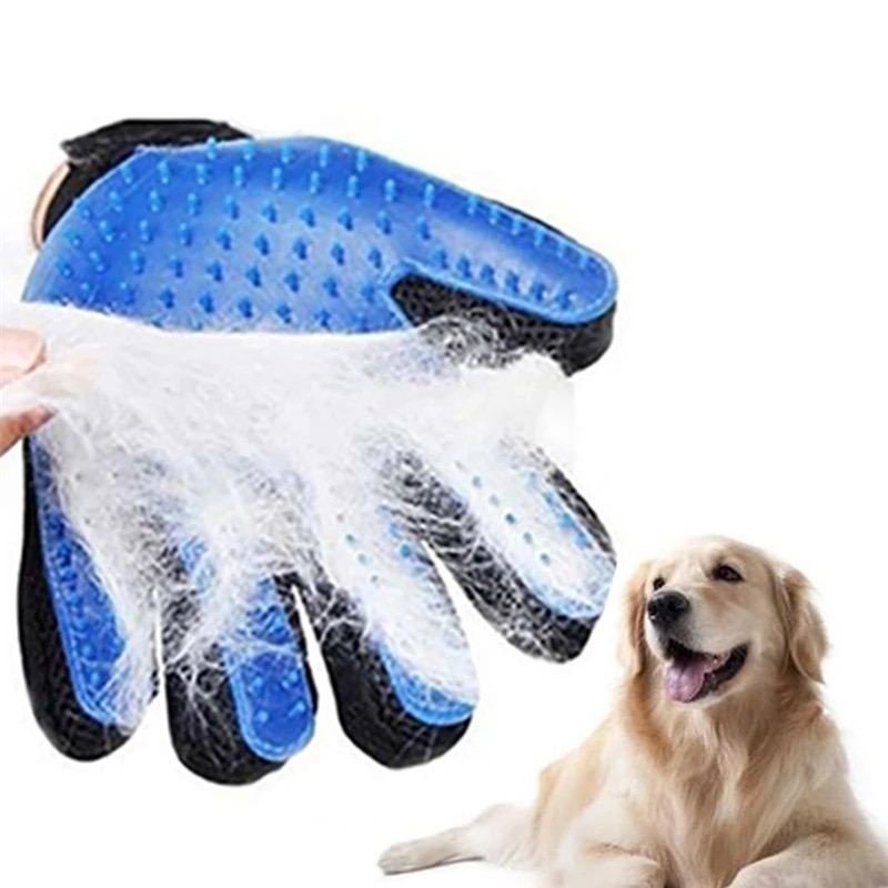 Pet Dog Grooming Glove Silicone Cats Brush Comb Deshedding Hair Gloves Dogs Bath Cleaning Supplies A