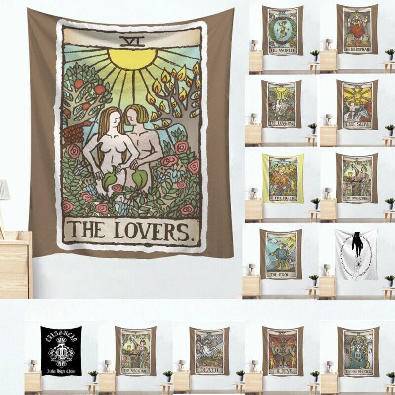 Tarot Card algodón cartel colgante de pared tapiz Hippie bohemio Mandala los amantes Tarot tapiz gótico pared artística colgante