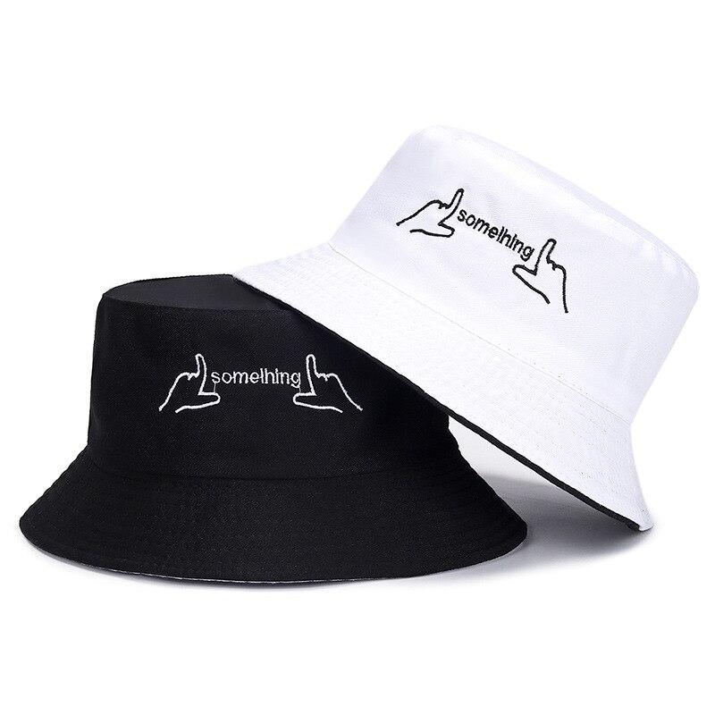Panamá hombres mujeres verano sombrero de cubo negro dedo blanco letra impresión bob chicos hip hop gorras de pesca sombrero de pescador chico triste