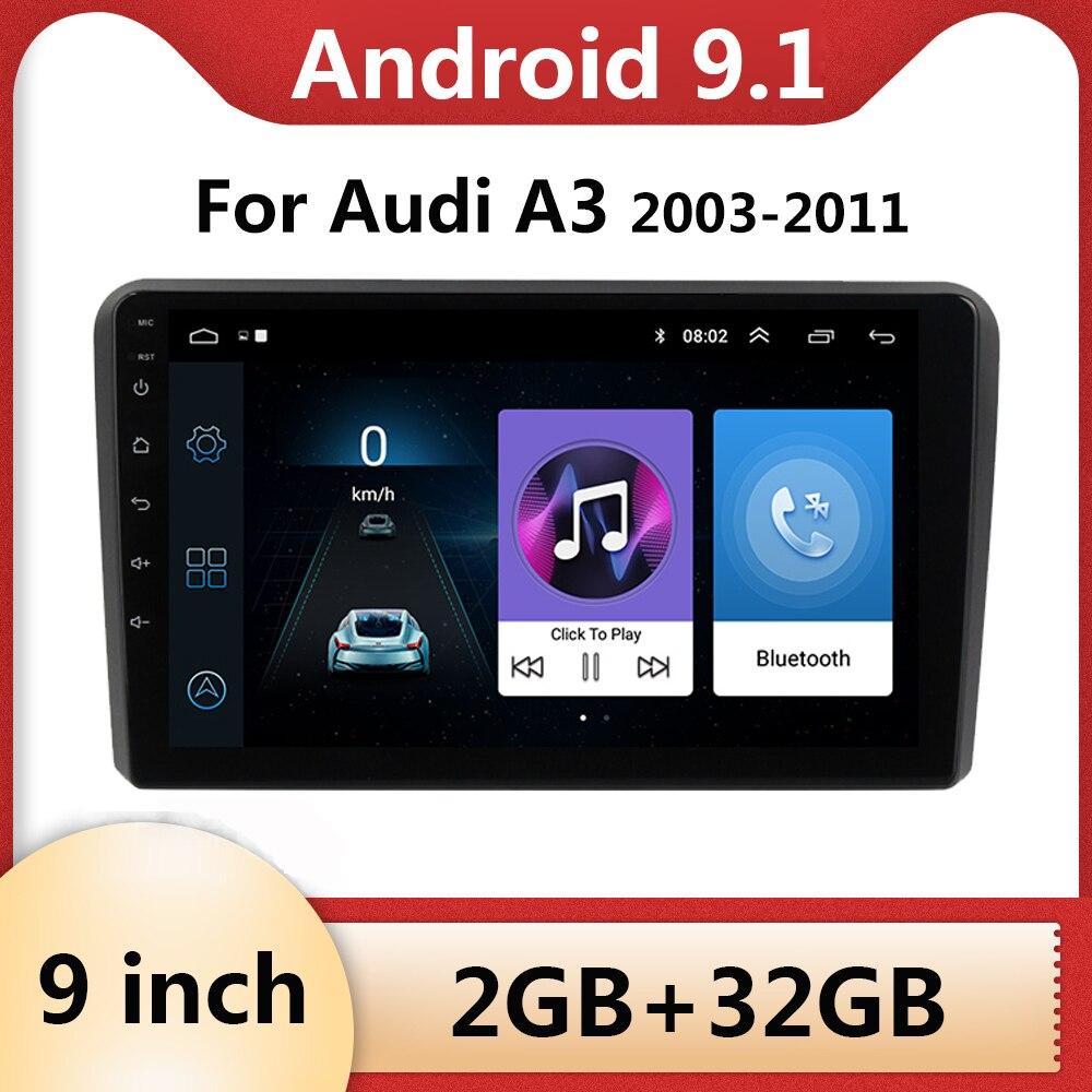 Android 9.1 2din Car Radio Video Player Multimedia Para Audi A3 2003 2004 2005 2006 2006 2007 2008 2009 2010 2011 de navegação GPS
