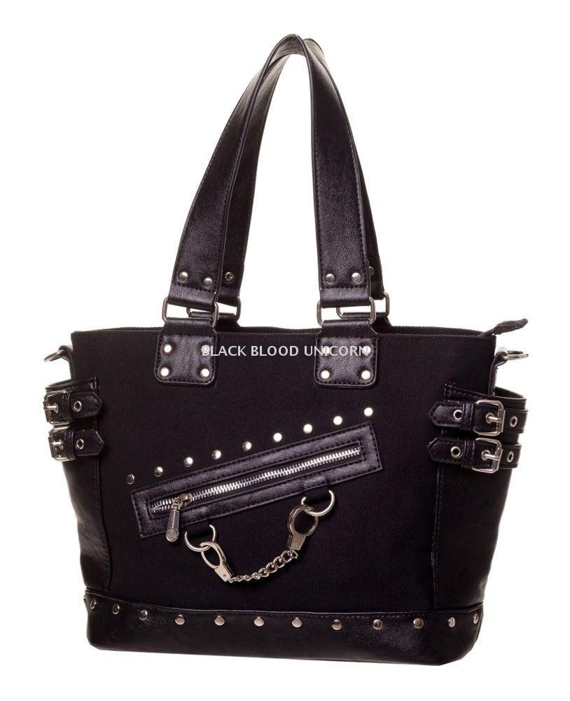 Bolsos De Cuero Negro Punk Rock de PU con cremallera, bolsa de cadena con cremallera de Metal, gótico oscuro, accesorios para Cosplay