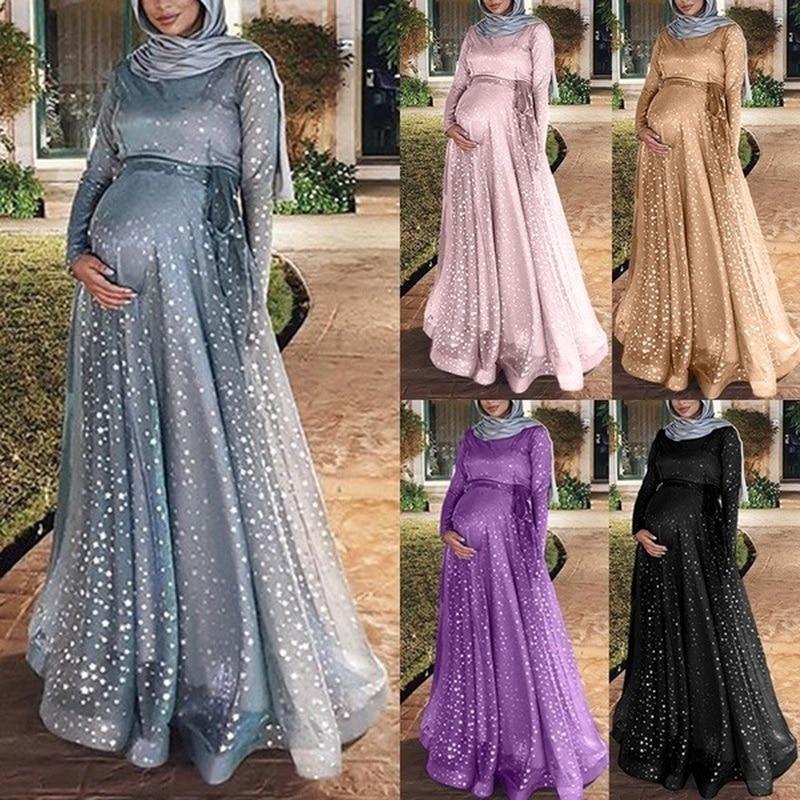 5XL Pregnant Women Floor-length Dress Slim Fit Plus Size Loose Elegance Maternity Muslim Long Pregnancy Dress Abaya Vestidos
