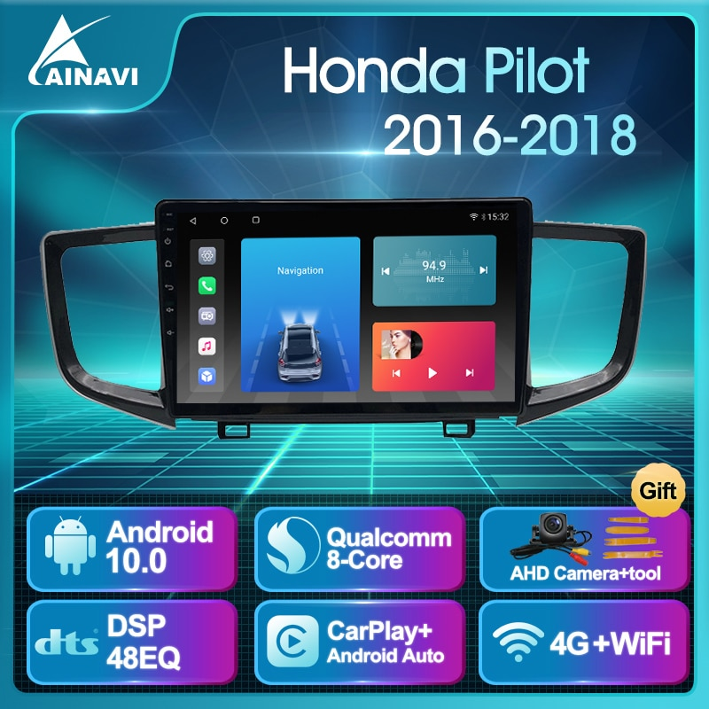 Car Radio AI Voice Android 10.0 QLED For Honda Pilot 2016-2018 Auto Stereo Multimedia Video Player N