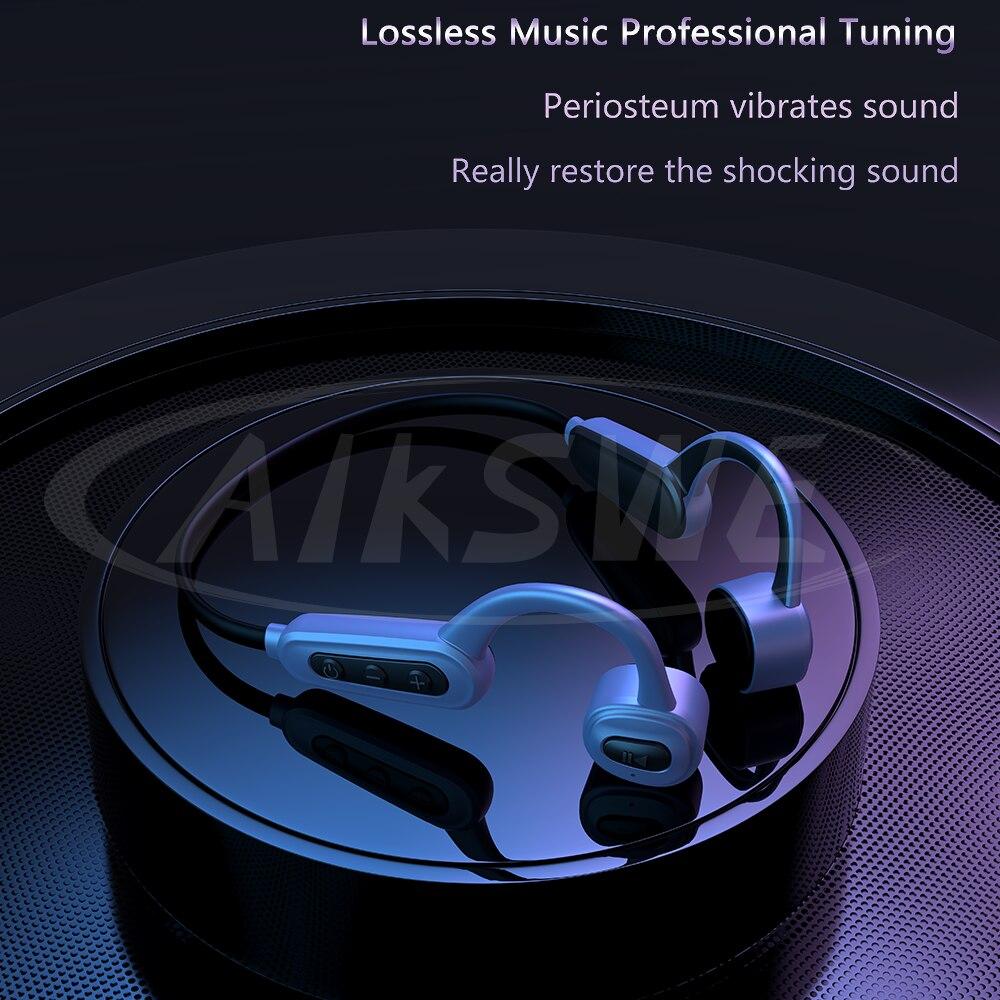 AIKSWE Bone Conduction Swimming Earphones 16GB IPX8 Waterproof Bluetooth Wireless Earbud MP3 Music Player Sport Adjustable Strap enlarge
