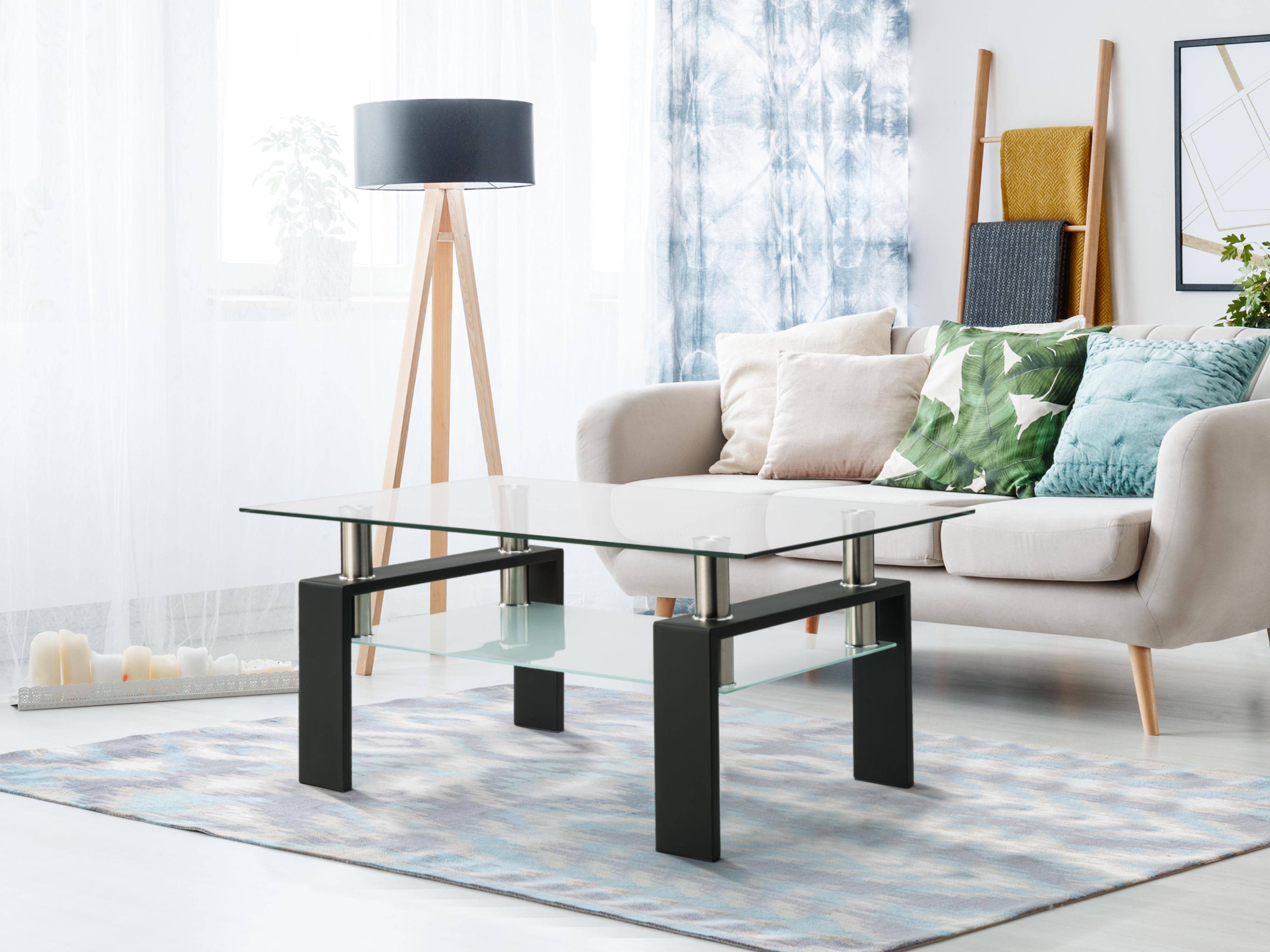 Living Room Furniture Double Layer  Rectangle Glass Coffee Table Clear Home Furniture Side Table Coffee Table For Living Room