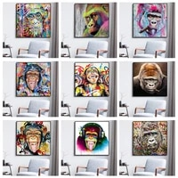 animal gorilla canvas painting monkey abstract graffiti wall art posters and pictures for home living room decoration frameless