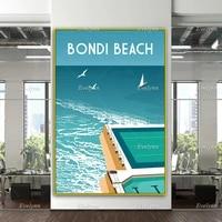 bondi beach travel retro poster australia wall art bondi beach poster australia travel print home decor canvas unique gift