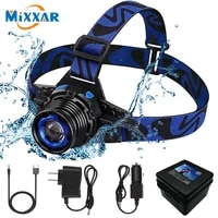 zk20 led headlamp high lumens ipx4 waterproof led headlight frontal flashlight rechargeable zoomable flashlight build in battery