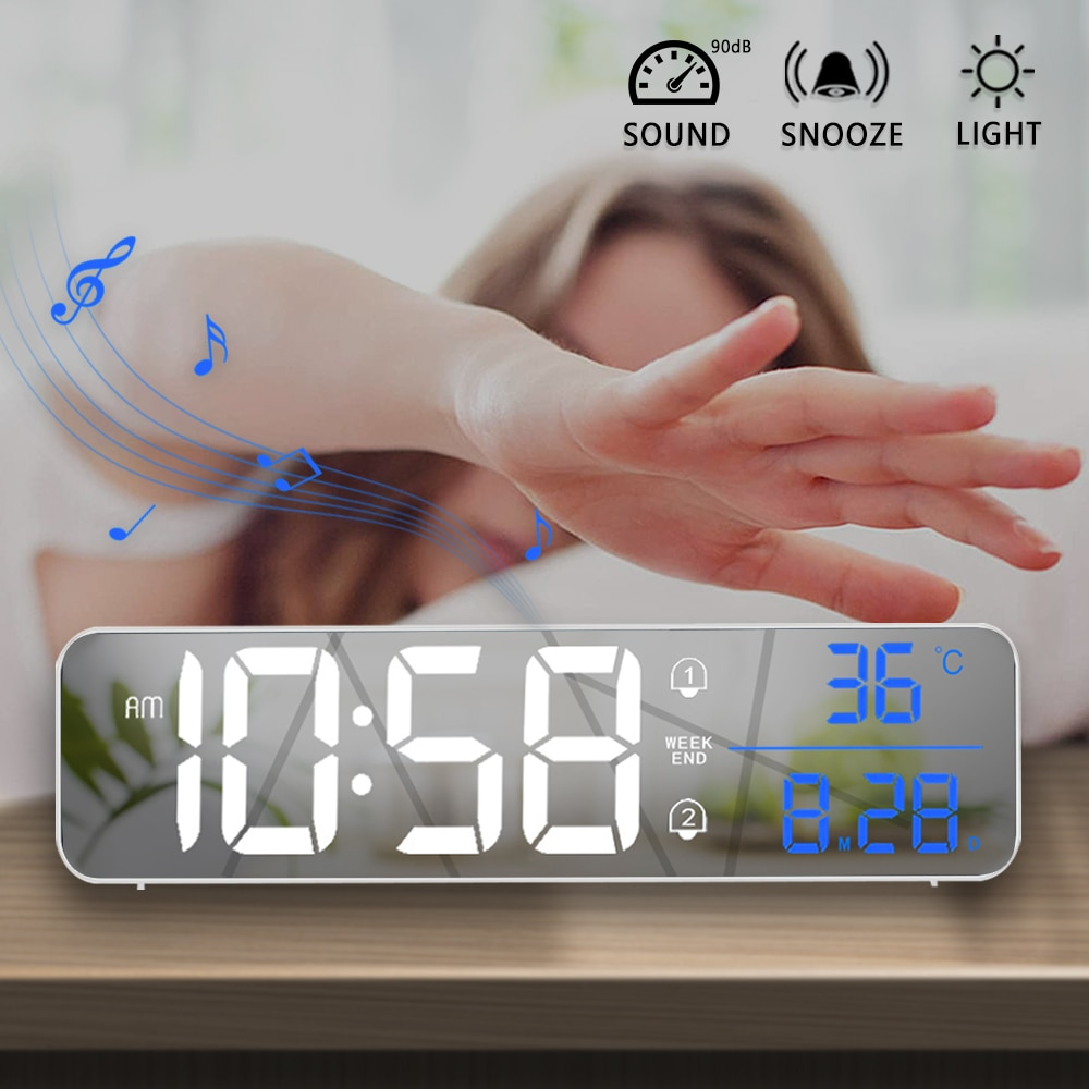 Music LED Digital Alarm Clock Temperature Date Display Desktop Mirror Clocks Home Table Decoration E