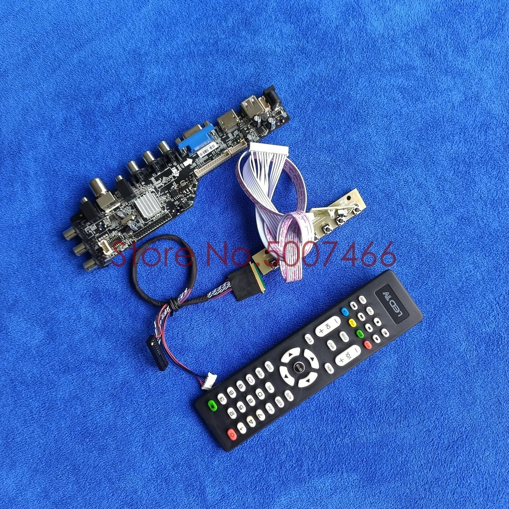 Fit CLAA173UA01A-شاشة تلفزيون رقمية عالمية 1600*900 3663, 40 دبوس LVDS AV VGA USB DVB LED LCD مجموعة لوحة تحكم
