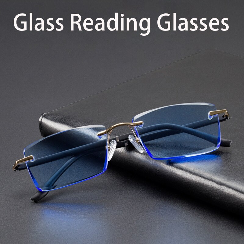 Vazrobe óculos de leitura de vidro masculino feminino azul cristal lente de vidro tr90 sem aro eyewear anti risco pesado anti olho-seco homem