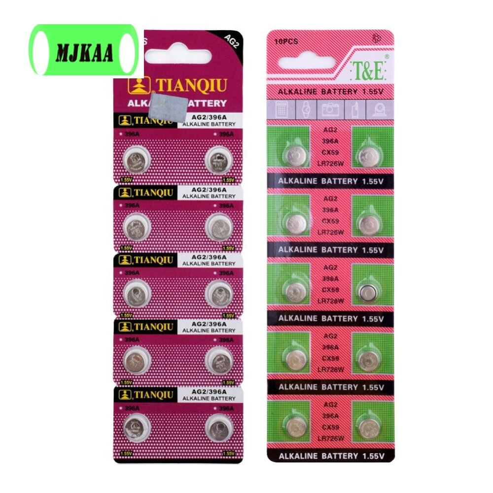 20 piezas nuevo AG2 1,55 V LR726 396 baterías de botón SR9 726 LR59 SR726 196 alcalino para relojes de juguete a batería